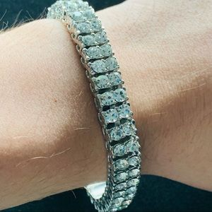 Other - White Gold Tennis Bracelet Double Row 10mm